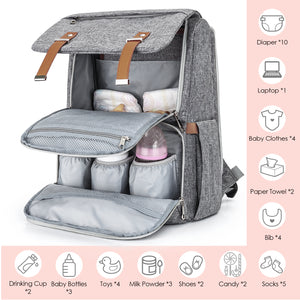 Diaper Backpack&Bookbag (Gray)