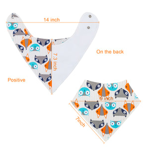 10-Pack Stylish Drool Bibs (Foxes Design)