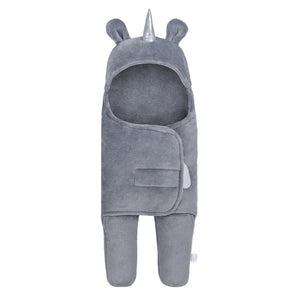 Unicorn Swaddle Wrap Baby Sleeping Bag | Gray (0-6 Months)