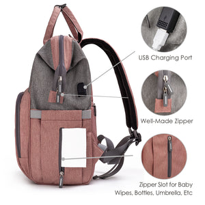 Wide-Open Diaper Backpack (Pink&Gray)