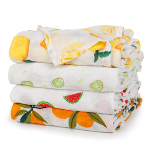 4-Pack Muslin Swaddle Blankets (Fruit Design)
