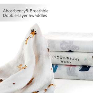 Unisex Bamboo Muslin Swaddle Blankets  (Animals Design)