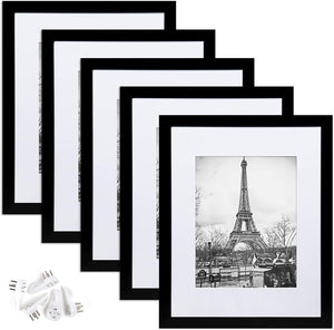 upsimples 11x14 Picture Frame Set of 5,Display Pictures 8x10 with Mat or 11x14 Without Mat,Wall Gallery Photo Frames,Black