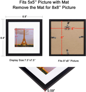 upsimples 8x8 Picture Frame Set of 3,Display Pictures 5x5 with Mat or 8x8 Without Mat,Multi Photo Frames Collage for Wall,Black