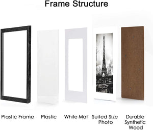 upsimples 11x14 Picture Frame Set of 5,Display Pictures 8x10 with Mat or 11x14 Without Mat,Wall Gallery Photo Frames,Distressed Black