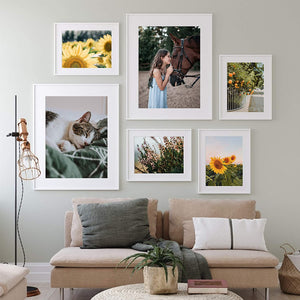 upsimples 16x20 Picture Frame Set of 5,Display Pictures 11x14 with Mat or 16x20 Without Mat,Wall Gallery Poster Frames,White