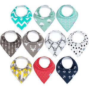 10-Pack Upsimples Baby Bandana Drool Bibs for Boys Drooling and Teething, Organic Cotton, Baby Shower Gift Set