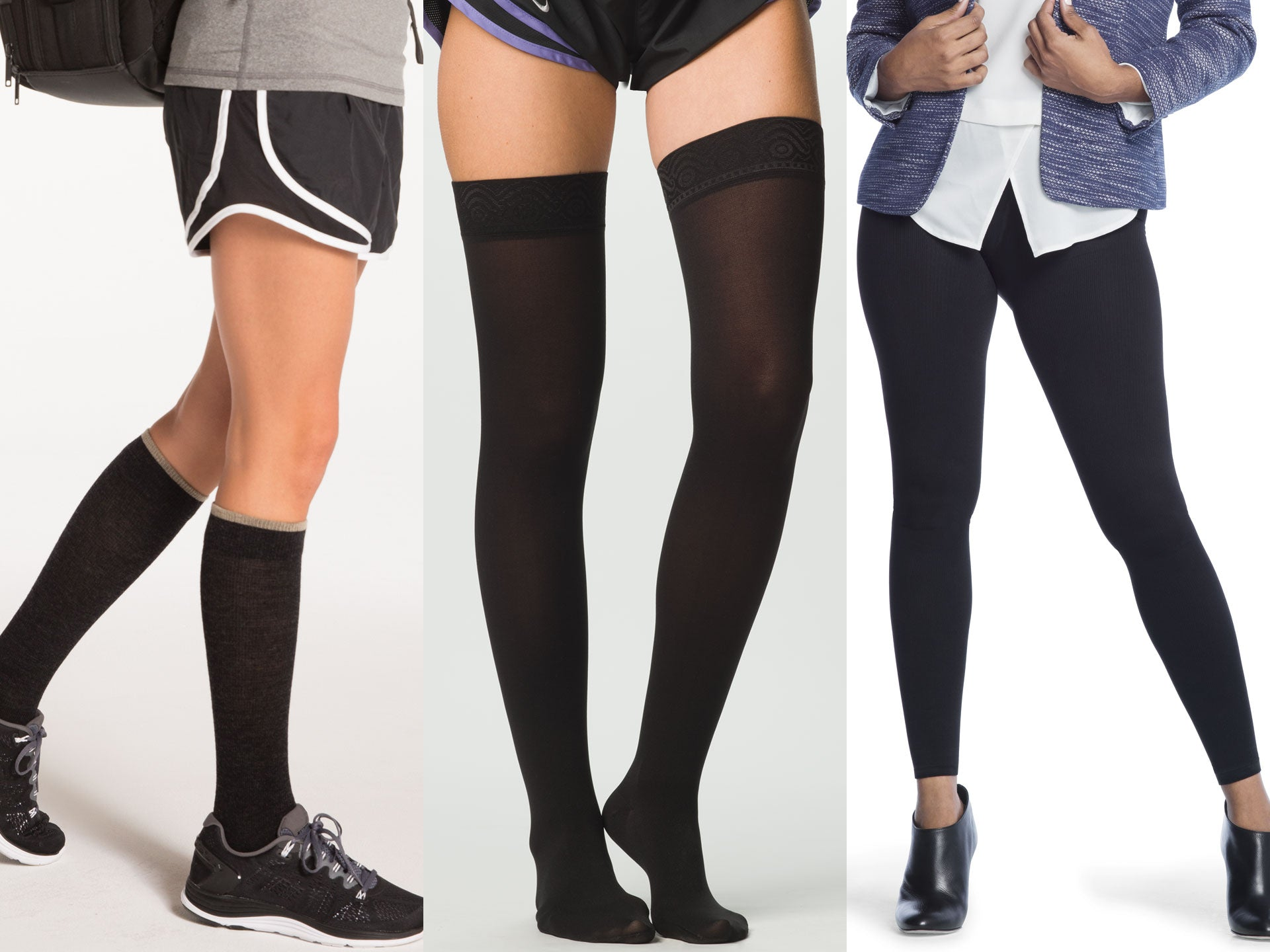 Knee high, thigh high, and pantyhose styles of compression socks and stockings