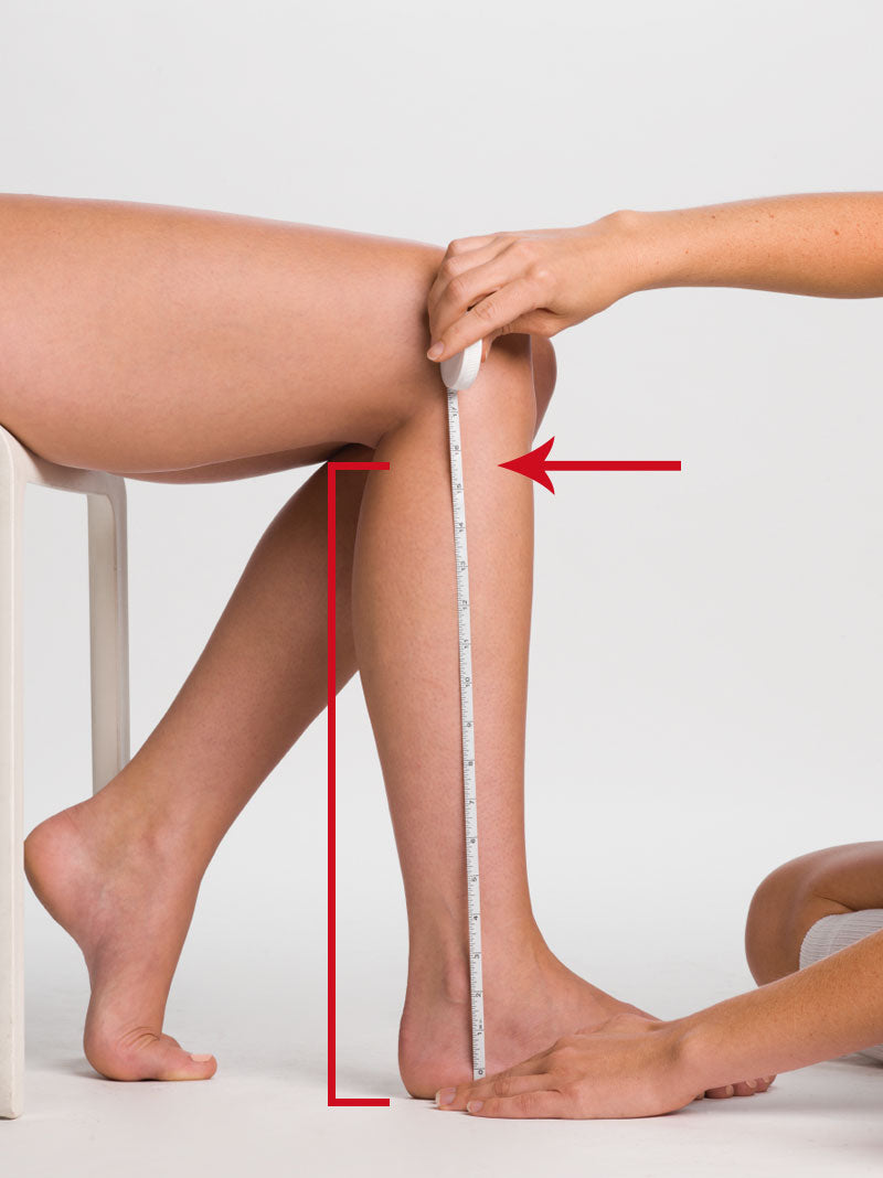 Calf length measurement for knee high compression stockings