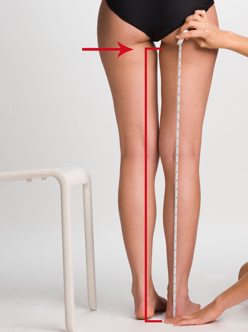 Leg length measurement for compression stockings