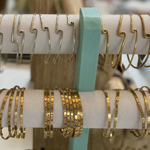 Verona Stackable Swirl Wave Alpaca Silver and Etched Brass  Bracelets - Mystic World Finds