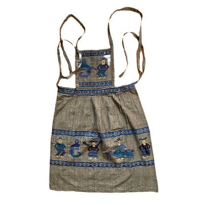 Gray Blue Apron with Embroidered Guatemalan Designs - Mystic World Finds