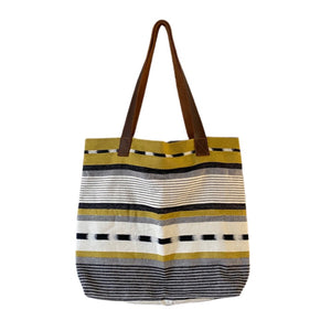 🄻 🄰 🄶 🄾 Collection: Mustard Ikat Guatemalan Leather Handle Tote - Mystic World Finds