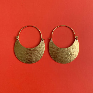 Stamped gold crescent hoop earrings - Mystic World Finds