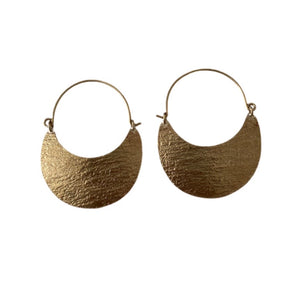Verona Stamped Brass Crescent Earrings