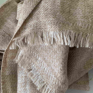 Super Soft Finely Woven Beige Baby Yak Wool Scarf Shawl - Mystic World Finds