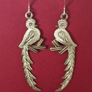 Etched Silver Quetzal Bird Earrings - Mystic World Finds