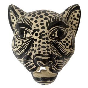 Light Yellow Amatenango Del Valle Chiapas Painted Clay wall Jaguar Mask - Mystic World Finds
