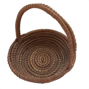 Small Pine Needle Basket Handle Basket - Mystic World Finds
