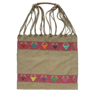 Partially Embroidered Brown and Pink Chiapas Hammock Bag with Braided Handles - Mystic World Finds