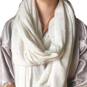 Super Soft Off White Baby Yak Wool Scarf Shawl - Mystic World Finds