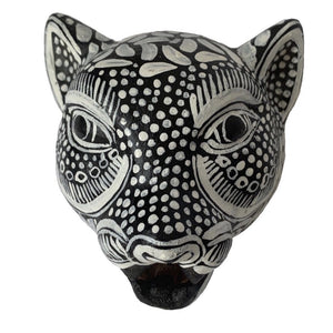 Black and White Amatenango Del Valle Chiapas Painted Clay Jaguar Mask - Mystic World Finds