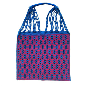 Fully Embroidered Blue and Red Chiapas Hammock Bag with Braided Handles - Mystic World Finds