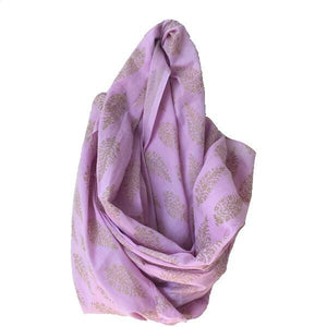Gold and Pink Indian Cotton Block Print Scarf - Mystic World Finds