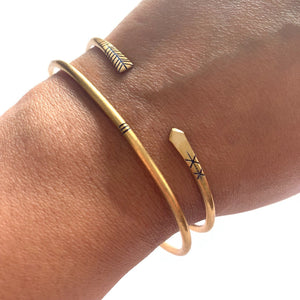 Verona Collection Copper Arrow Cuff Bracelet Stackable Etched with Blue Ink - Mystic World Finds