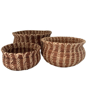 Set of 3 Pine Needle Nesting Baskets