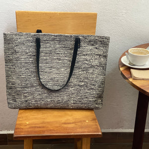 Oversized Gray Naturally Dyed Wool Tote with Black Leather Handles - Mystic World Finds