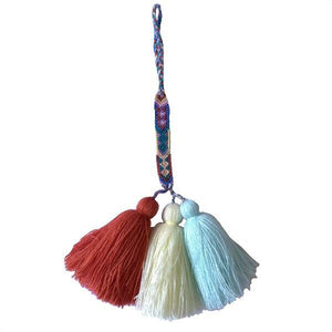 Hanging Multi Colored Tassels with Embroidery - Mystic World Finds