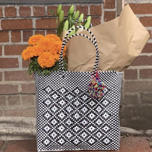 Black and White farmer's market Mexican Oaxaca Plastic Tote with Pom Pom - Mystic World Finds