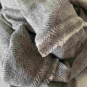 Super Soft Finely Woven Gray Chevron Baby Yak Wool Scarf Shawl - Mystic World Finds