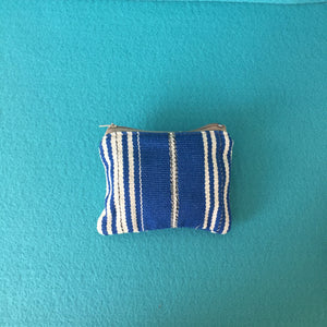 Naturally Dyed Handwoven Zippered Lined Blue Stripes Coin Purse - Mystic World Finds
