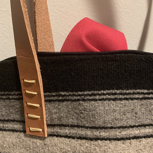 Black and Gray Striped Wool Laptop Tote With Leather Handles - Mystic World Finds