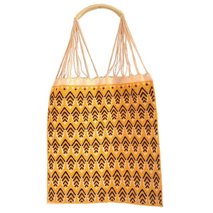 Fully Embroidered yellow Chiapas Hammock Bag with Braided Handles - Mystic World Finds