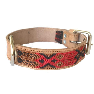 Large Red Leather Tribal Dog Collars - Mystic World Finds