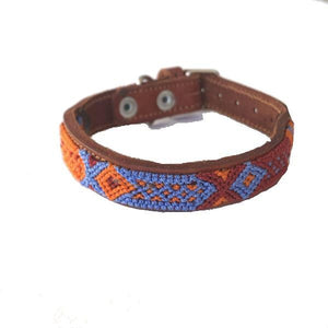 Small Dog Blue and Orange Leather Tribal Dog Collar - Mystic World Finds