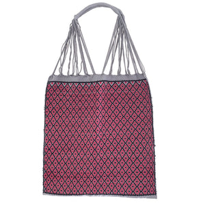 Fully Embroidered blue and pink Chiapas Hammock Bag with Braided Handles - Mystic World Finds