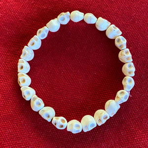 Hand carved bone beads skull bracelet Dia de los Muertos Jewelry - Mystic World Finds