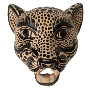Light Pink and Black Amatenango Del Valle Chiapas Painted Clay Jaguar Mask - Mystic World Finds