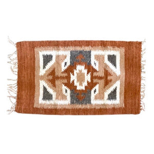 Orange Guatemala Mayan Wool Rug - Mystic World Finds