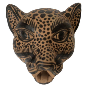Amatenango Del Valle Chiapas Painted Clay Jaguar Mask - Mystic World Finds