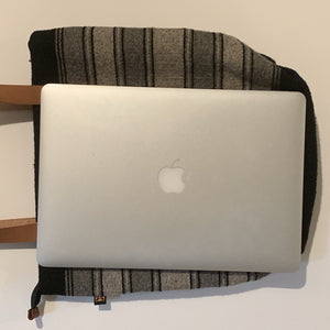 Striped Wool Laptop Tote With Leather Handles - Mystic World Finds