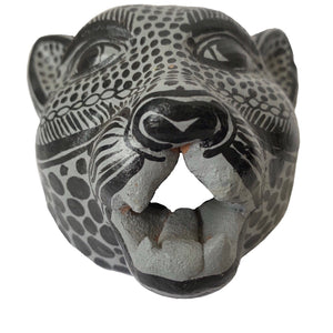 Gray and Black Amatenango Del Valle Chiapas Painted Clay Gray Jaguar Mask - Mystic World Finds