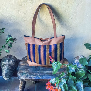 Navy Blue Striped Suede Tote - Mystic World Finds