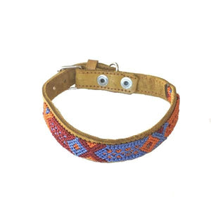 Small Dog Blue Leather Tribal Dog Collar - Mystic World Finds