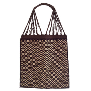 Fully Embroidered brown Chiapas Hammock Bag with Braided Handles - Mystic World Finds