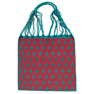Fully Embroidered Aqua and Red Chiapas Hammock Bag with Braided Handles - Mystic World Finds